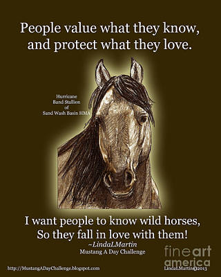 Western Art Digital Art - Know Wild Horses Poster-huricane by Linda L Martin