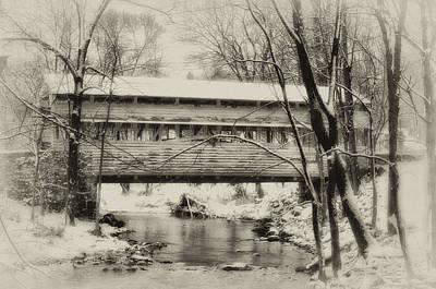 Snowy Digital Art - Knox Valley Forge Covered Bridge by Bill Cannon