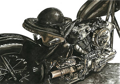 Harley Davidson Motorcycle Painting - Knucklehead by Marie Downing