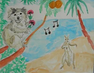 Koala And Kangaroo Dancing Original by James George