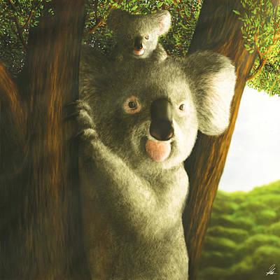 Kangaroo Digital Art - Koala Natural Peace by Ezequiel Caballero