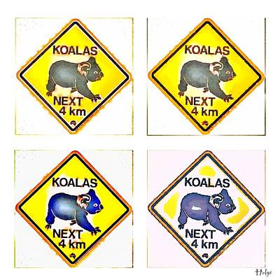 Koala Digital Art - Koalas Road Sign Pop Art by HELGE Art Gallery