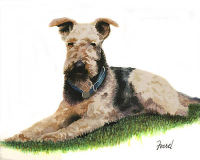 Art Print featuring the painting Kobe Airedale Terrier by Ferrel Cordle