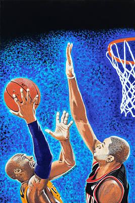 Kobe Bryant Painting - Kobe Vs Batum by Dino Murphy