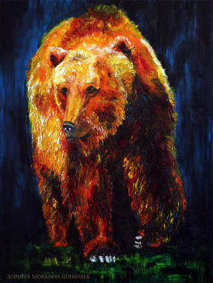 Painting - Kobuk's Domain Contemporary Bear Painting by Jennifer Godshalk