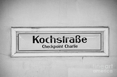 Kochstrasse Checkpoint Charlie Berlin U-bahn Underground Railway Station Name Germany Art Print by Joe Fox