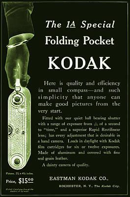 Vinatge Photograph - Kodak 1a Folding Pocket Camera Ad by Jennifer Rondinelli Reilly - Fine Art Photography