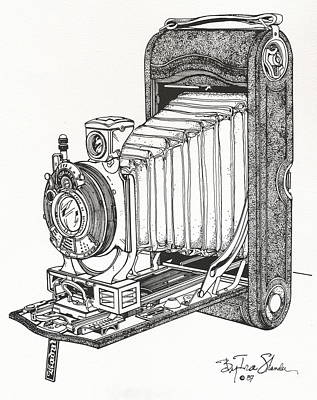 Vintage Camera Drawing - Kodak 3a Autographic by Ira Shander