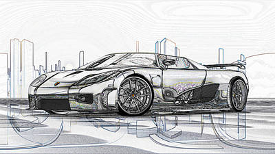 Digital Art - Koenigsegg Ccx Sketch  by Louis Ferreira