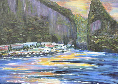 Art Print featuring the painting Koh Panyee Island by Dottie Branchreeves
