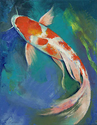 Poisson Painting - Kohaku Butterfly Koi by Michael Creese