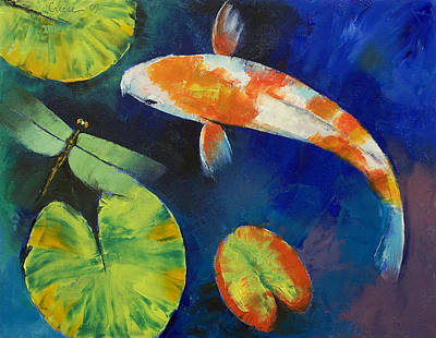 Poisson Painting - Kohaku Koi And Dragonfly by Michael Creese