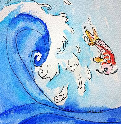 Painting - Koi And Asian Wave by Carlin Blahnik CarlinArtWatercolor
