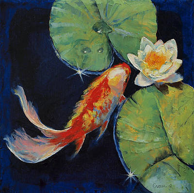 White Water Lilies Painting - Koi And White Lily by Michael Creese