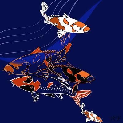 Water Media Painting - Koi by Anna Platts