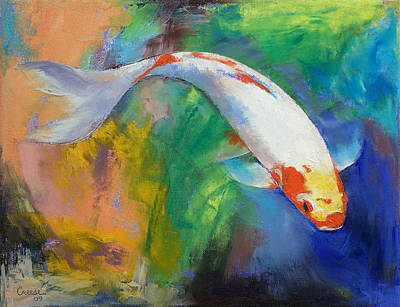 Collectible Art Painting - Koi Art Pirouette by Michael Creese