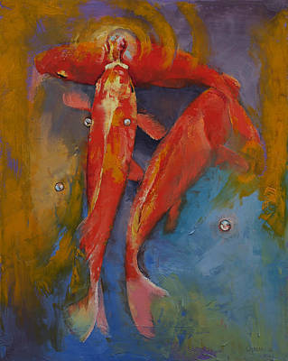 Poisson Painting - Koi Bubbles by Michael Creese