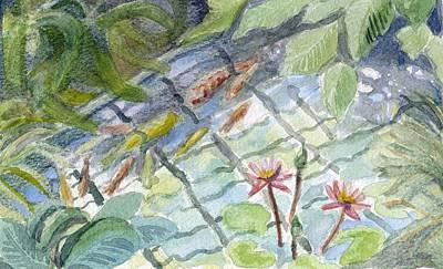 Koi Carp And Waterlilies. Art Print