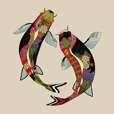 Aquatic Drawing - Koi Chamomile by Sharon Turner