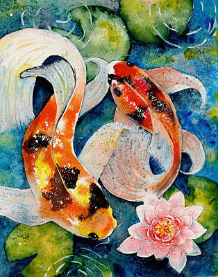 Gold Fish Painting - Koi Dance by Susy Soulies