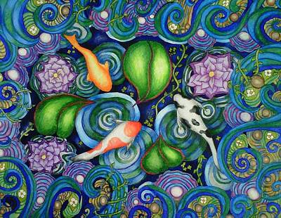Lily Pad Pond Drawing - Koi Fantasy by C  Autumn Trapp