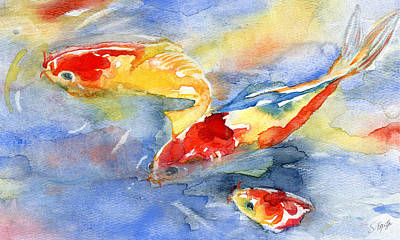 Painting - Koi Fish In Water by Stephanie  Kriza