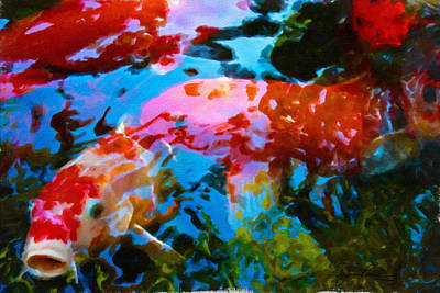 Art Print featuring the painting Koi Fish by Joan Reese