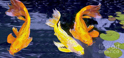 Gold Fish Mixed Media - Koi Fish by Jon Neidert