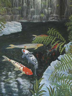 Art Print featuring the painting Koi Fish by Karen Zuk Rosenblatt