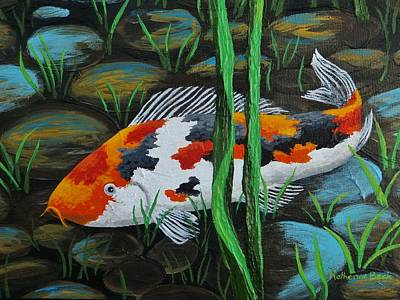Fish Underwater Painting - Koi Fish by Katherine Young-Beck