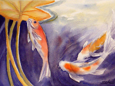 Painting - Koi In A Lily Pond 11 by Janet  Zeh