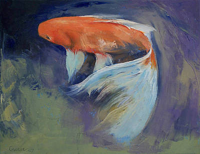 Oil Paint Painting - Koi Fish Painting by Michael Creese
