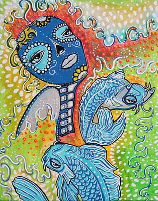 Koi Painting - Koi Fish Sugar Skull by Laura Barbosa