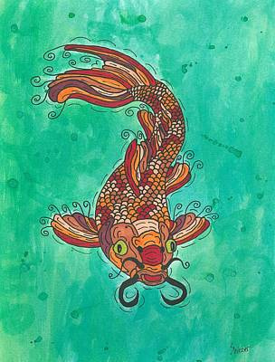 Art Print featuring the painting Koi Fish by Susie Weber