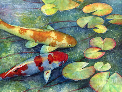 Popstar And Musician Paintings - Koi Garden by Hailey E Herrera