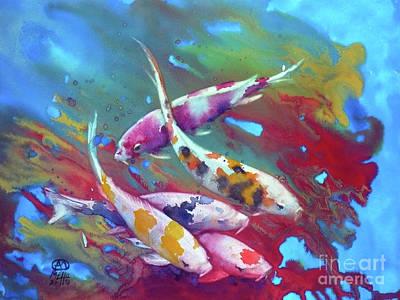 Koi In Red Algaes Original by Andre MEHU