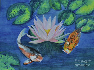 Painting - Koi In The Lily Pond by Suzette Kallen