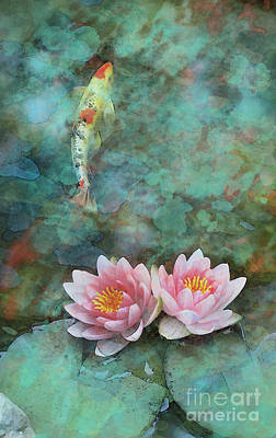 Digital Art - Koi Morning Mist by Gina Signore