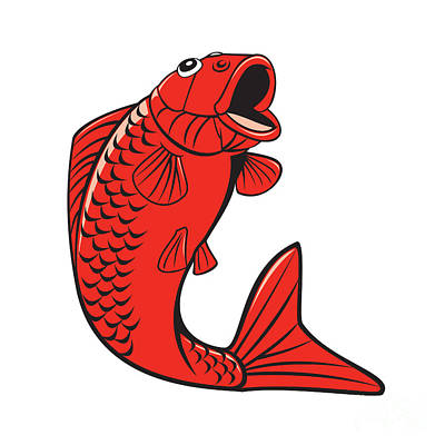 Koi Digital Art - Koi Nishikigoi Carp Fish Jumping Cartoon by Aloysius Patrimonio