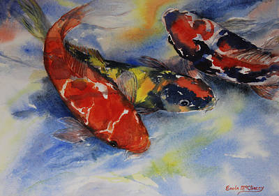 Note Cards Painting - Koi Party by Enola McClincey