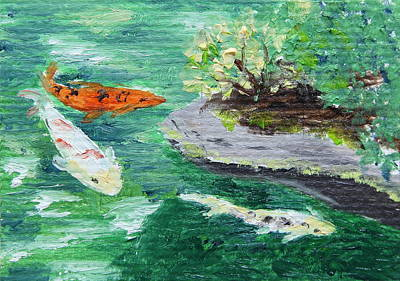 Painting - Koi Pond by Alan Mager