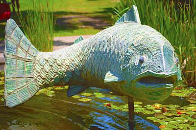 Lilly Pond Digital Art - Koi Pond Fish Santa Barbara by Barbara Snyder