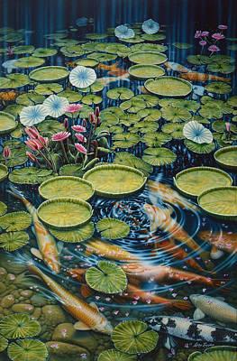 Koi Pond Art Print by Larry Taugher