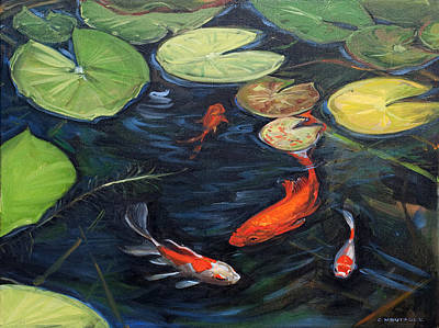 Painting - Koi Pond Water Lilies by Christine Montague