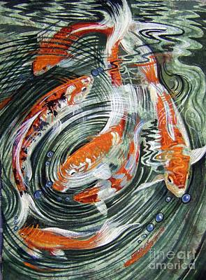 Amate Bark Paper Painting - Koi Refractions by Anne Shoemaker-Magdaleno