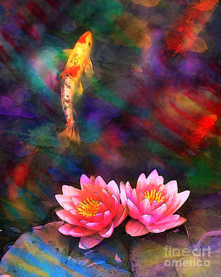 Digital Art - Koi Sun Rising by Gina Signore