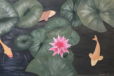 Lilly Pond Painting - Koi by Tim Townsend