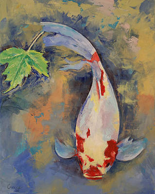 Poisson Painting - Koi With Japanese Maple Leaf by Michael Creese