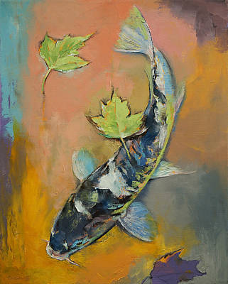 Koi With Japanese Maple Leaves Print by Michael Creese