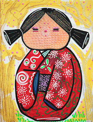 Manga Painting - Kokeshi by Laura Barbosa